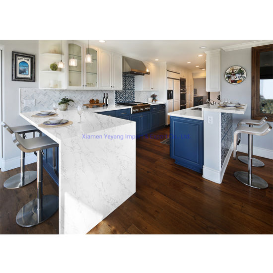 Cut-to-Size Slabs Calacatta/Grey/Snow/Pure White Quartz Kitchen Island/Countertops Wholesale
