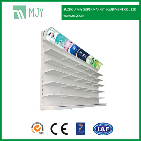 Steel Supermarket Display Gondola Shelf Shelving for Cosmetics with Display Light Box