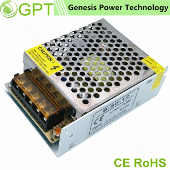 60W 12V 24V Universal LED Power Supply for LED Lighting, AC DC Switching Power Supplies
