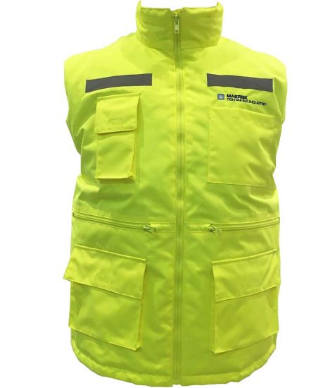 Promotional Winter Padded Lining Functional Pocket High Visibility Fluorescent Yellow Orange Safety Bodywarmer Vest