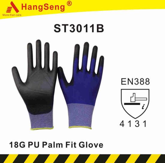 18g PU Palm Fit Safety Work Glove (ST3011B)