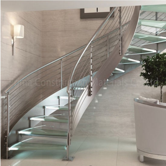 Stainless Steel Stair Design Glass Stair Treads Curved Staircase