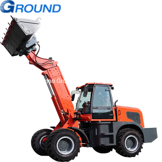 Ground earthmoving wheel loader with telescopic boom