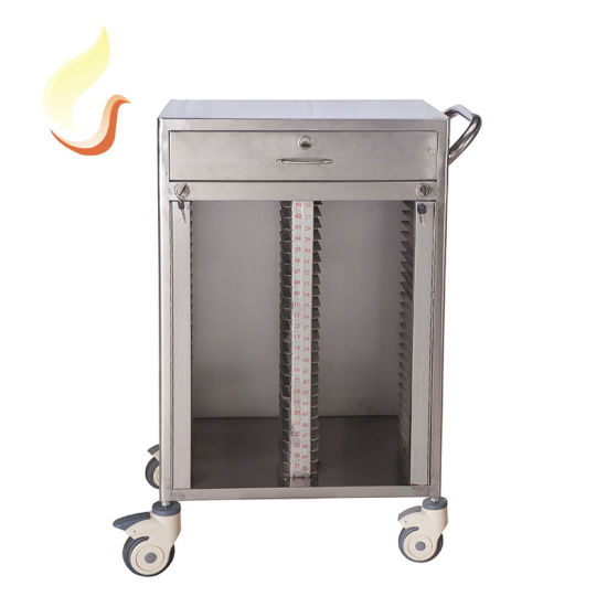 Hospital Furniture 304 Stainless Steel Medical Patient File Record Trolley History File Cart with 2 Rows and 50 Shelves