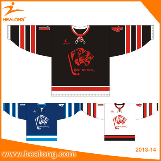 Healong Customized Grapic Design of Different Color Ice Hockey Jersey pictures & photos