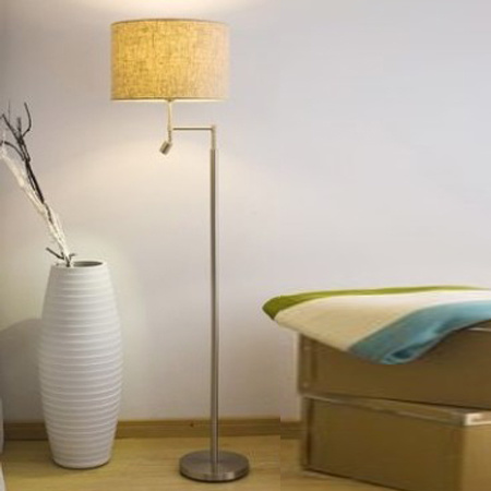 Nickel Brush Contermporary Modern Hotel Bedroom LED Standing Lighting Floor Lamp with Fabric Shade pictures & photos