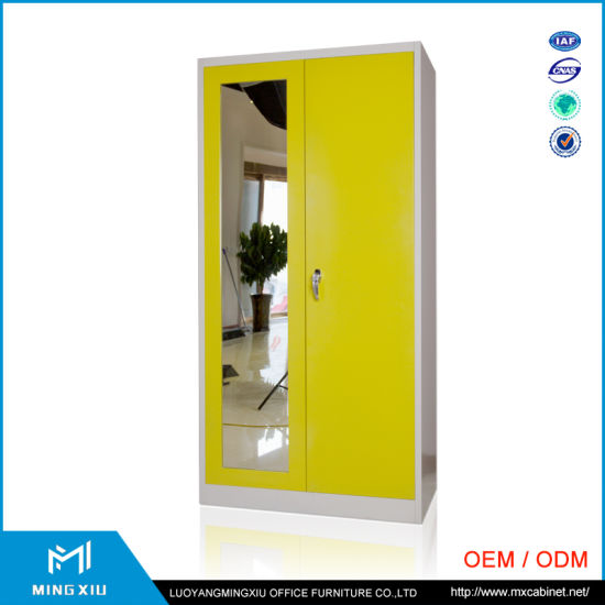 China Manufacturer Hanging Clothes Storage Cabinet 2 Door Steel Locker  Wardrobe With Mirror