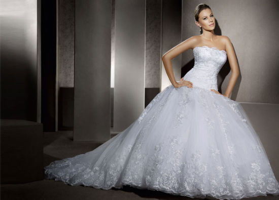 Top Quality Strapless Lace Beaded Bridal Wedding Dresses (AL002) pictures & photos