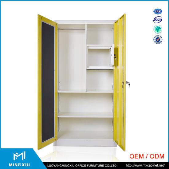china manufacturer hanging clothes storage cabinet 2 door steel