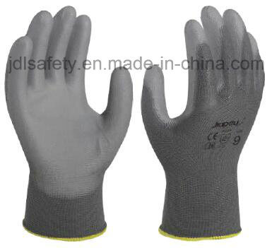 Industrial Using Keep Hands Safety Personal Protective Equipment Grey Polyester Safety Glove with PU Coated (PN8002)
