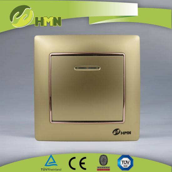 CE/TUV/CB Certified European Standard Colorful plate 1 WAY WITH LED GOLD Wall Switch