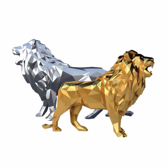 Geometry Polyresin Silver and Gold Electroplating The Lion King Statue