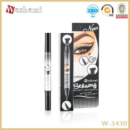 Washami New Design Waterproof 2 in 1 Perfect Black Glitter Eyeliner Stamp
