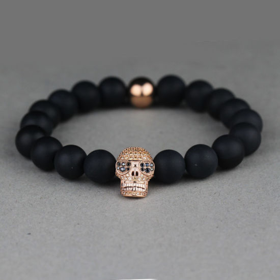 China Mens Skull Lava Bead Bracelet Men Beaded Bracelets Mjb022