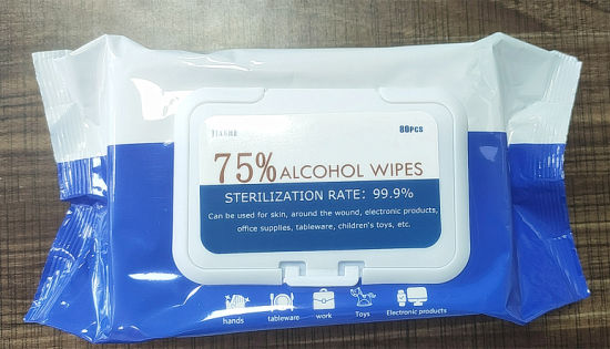 in Stock Pneumonia 75% Alcohol Antiseptic Disinfecting Germicidal Non-Woven Wet Wipesalcohol Clean Wet Wipeswet Tissue