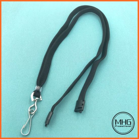 Black Flat Breakaway Lanyards with Swivel Hook Attachment and Clear Plastic Bead Finishing