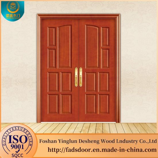 Desheng China Wood Door Manufacturer Indian Wooden Double Doors Designs