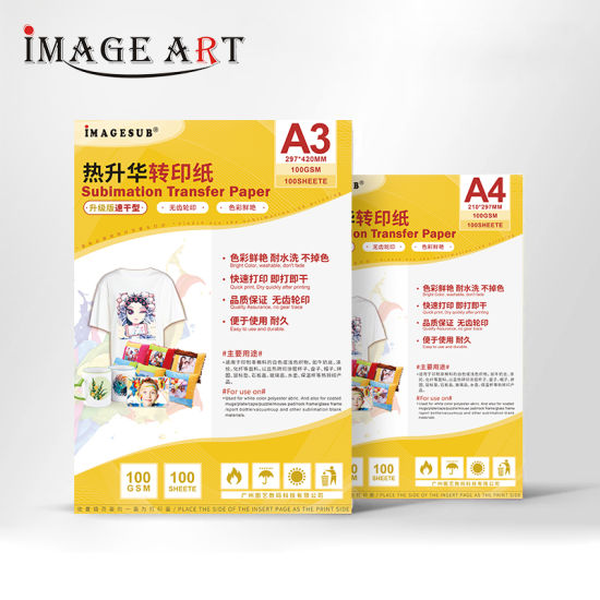 A3 Size Quick Drying Sublimation Transfer Paper for Light Color Clothes 100 Sheets/Pack 20 Packs/Carton