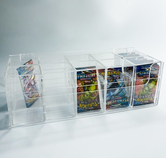 Custom Size Clear Acrylic Plastic Pokemon Sports Game Trading Card Holder Storage Box with Dividers
