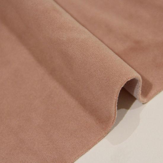 Yigao Textile 100%Polyester Pink Plain Velvet Knitted Fabric