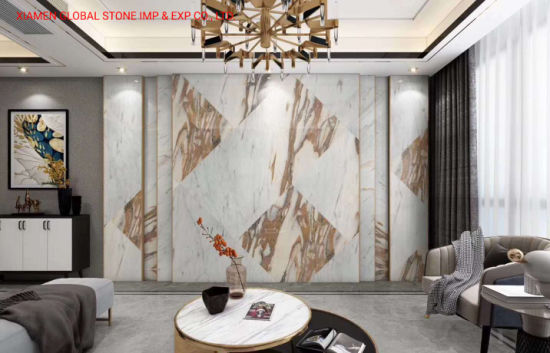Polished White/Gold Natural Stone Slab Calacatta Oro Tucci Marble for Wall/Floor Tile