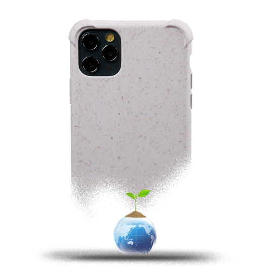 Personalised Degradable Phone Case 100% Compostable Wheat Straw Shockproof for iPhone 11 11PRO Max Xs Max