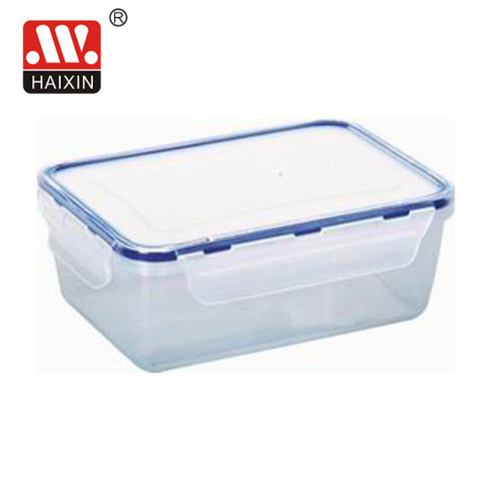 Clear/Rectangular Plastic Food Container with Lid, Food Storage Container with Silicone Ring
