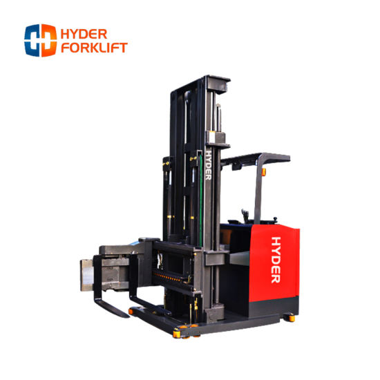 Electric Three-Way Pallet Stacker Warehouse Equipment with Very Narrow Aisle Racking