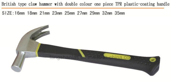Hammer One Piece Claw Hammer with Double Color Plastic Coating Handle pictures & photos