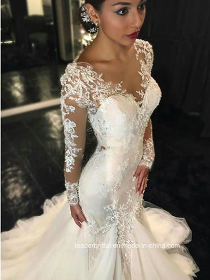 China Long Sleeves Bridal Gowns Mermaid Lace Sheer Wedding Dresses ...