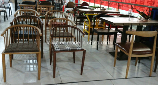 Comfortable PU Uphlstory Dining Chair with Solid Wood Leg (LL-DC006) pictures & photos