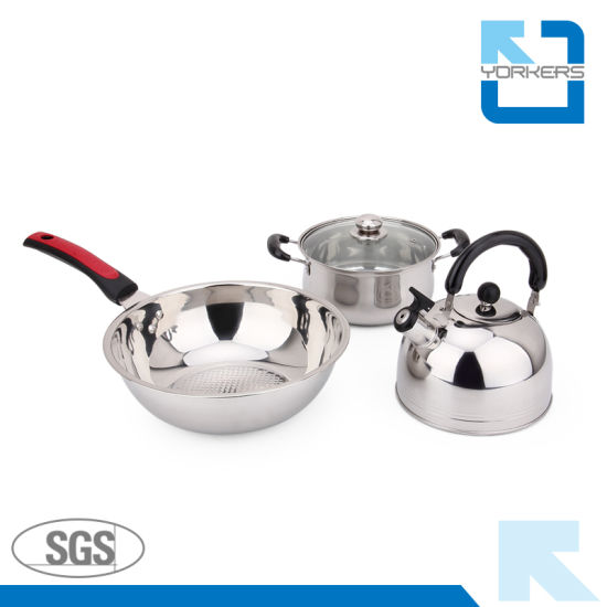 High Quality Stainless Steel Cookware Set with Kettle & Stock Pot & Fry Pan