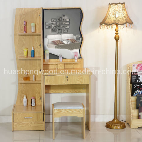 Bedroom Multifunction Wooden Dresser with Mirror and Chair