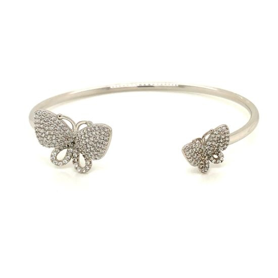 925 Sterling Silver Fashion Women Simple Butterfly Opening Bangle Jewelry