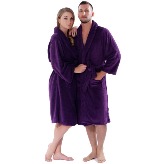 Lovers Winter Thickening Warm Bathrobe Plus Size Coral ...