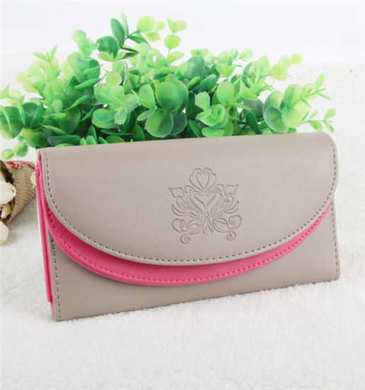 Women′s Double Cover PU Zipper Wallet Fashion Lady Wallet Purse pictures & photos