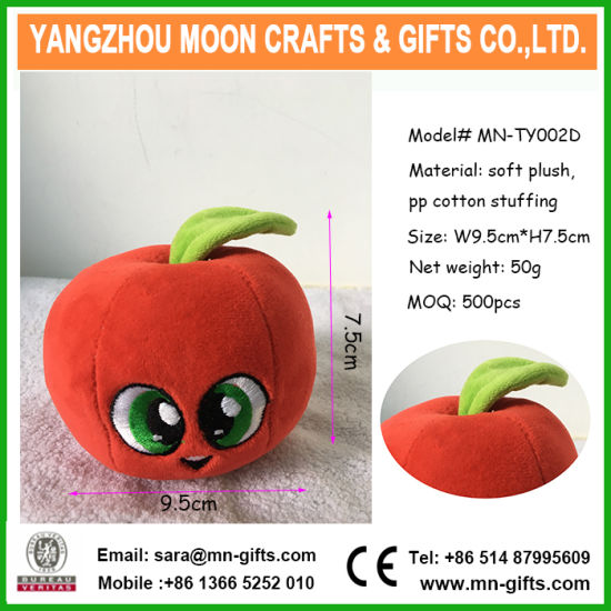 Plush Apple Toy for Kids Custom Logo Cute Cartoon Stuffed Soft Green Plush Toy