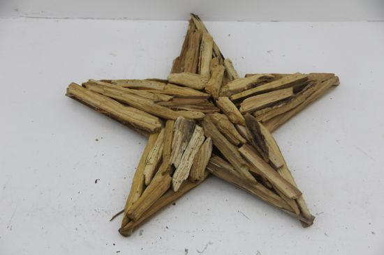 Decorative Pentagram Christmas Star Shape Wooden Carving Craft with Factory Price