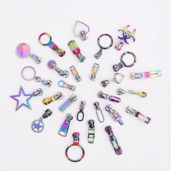 Wholesale Custom Rainbow Color #3 #5 #7 #8 Metal Nylon Zipper Slider and Puller