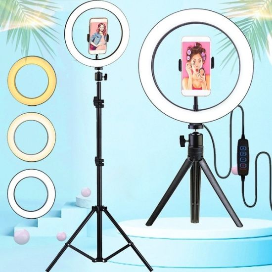 Wholesale 10 Inch Tiktok Selfie LED Ring Light with Tripod Stand Photographic Lighting