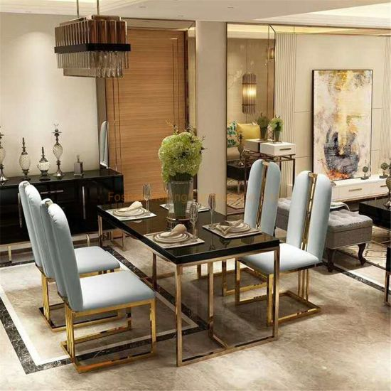 Modern Italy Design Unique Metal Steel Legs Large Rectangle Hotel Room Dining Table