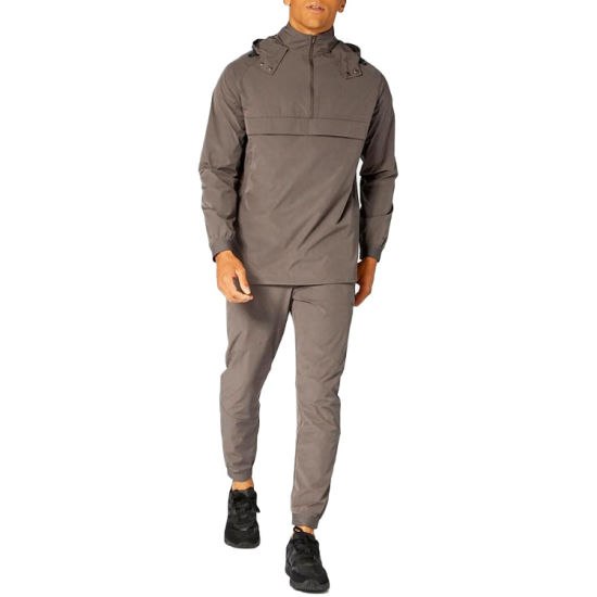 Windproof 100% Polyester Front Zipper Sweater+Fashion Pant Tracksuit for Men