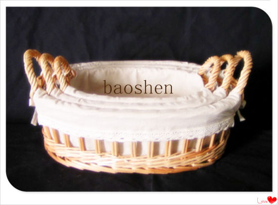 Gift Picnic Wholesale Willow Food Wooden Flower Storage Basket