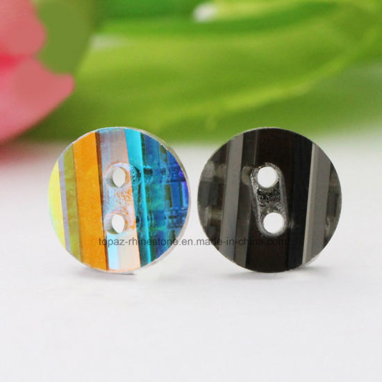 f636463f61 China Pancake Double Hole Caystal Button Colorful Glass Beads Point ...
