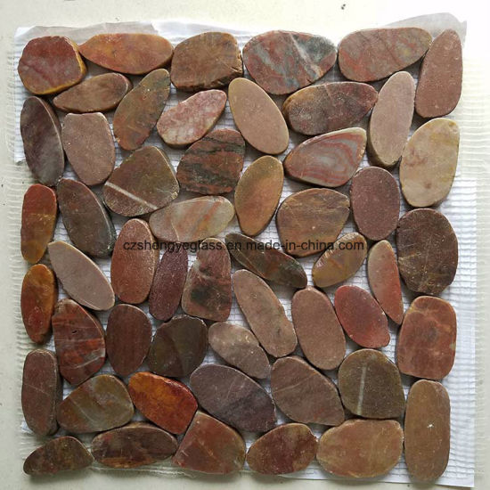 Mosaic Red Color Pebble Stone Tile