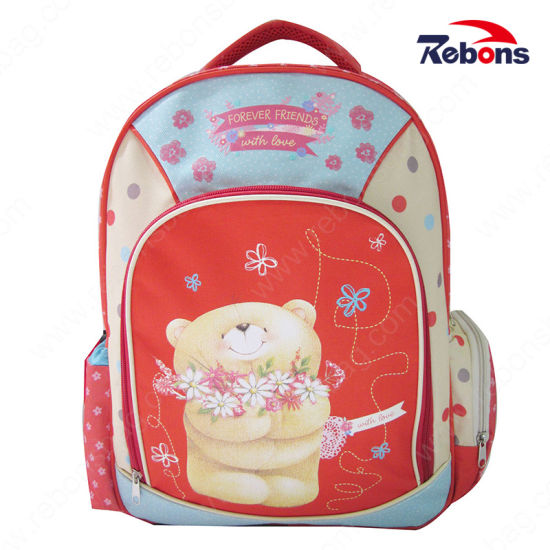 Durable Colorful Bear Flower Embroidery School Bags