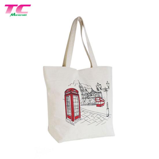 Custom Printed Logo Zipper Plain Ping Canvas Cotton Tote Bag