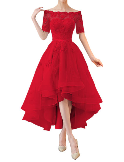 Tulle High Low Evening Dress 1/2 Sleeves off Shoulder Appliques Bridesmaid Dress