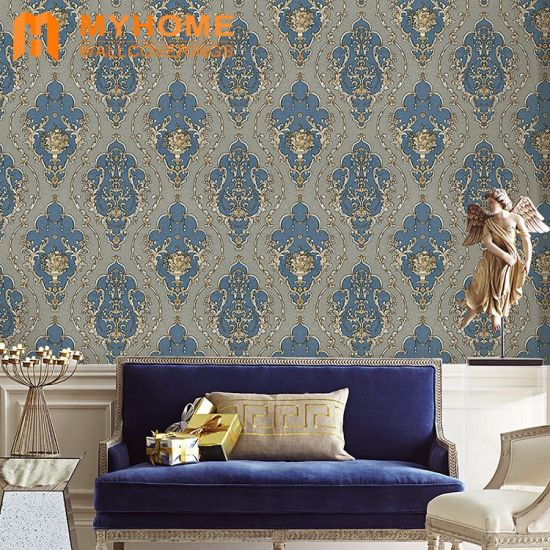 2018 Hot Sale Damask Flower Pvc Wallpaper Wall Paper For