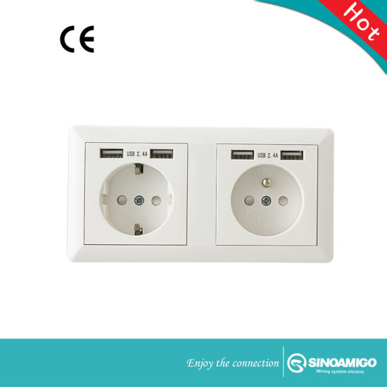 Two Gang Schuko Socket with USB Charger